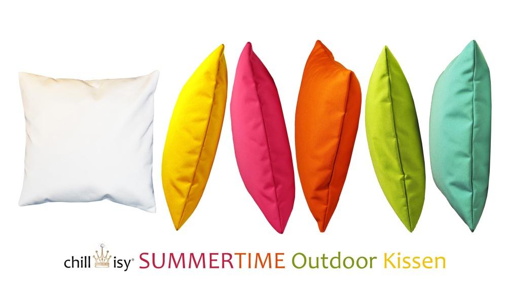 chillisy® SUMMERTIME Outdoor Kissen 190x140cm. Auf Wunsch personalisierbar. Wasserabweisend, farbecht, resistent gegen Salz- und Chlorwasser, atmungsaktiv, hautfreundlich. Ausführung mit separatem Innenkissen. Abb. Farben: snow, sun, pink, orange, lime, aqua