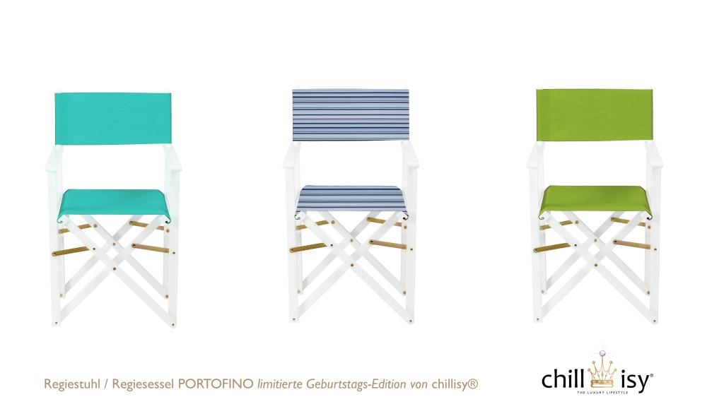 Regiestuhl / Regiesessel PORTOFINO: limitierte Geburtstags-Edition von chillisy® Farben: Aqua, Portofino (türkis-blau-weiß gestreift), Lime, Preis: € 49.90 / St.
