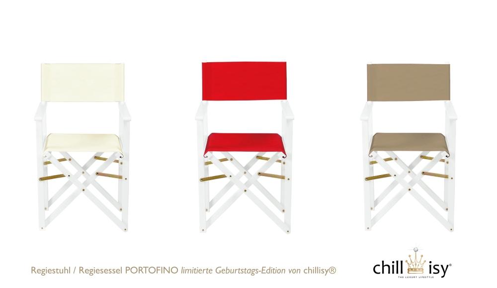 Regiestuhl / Regiesessel PORTOFINO: limitierte Geburtstags-Edition von chillisy® Farben: Weiß, Fragola, Taupe, Preis: € 49.90 / St.