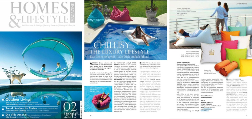 HOMES & LIFSTYLE MAGAZINE: Outdoor Living & Lifestyle mit chillisy® WATERPROOF SUMMERTIME EINFACH CHILLEN