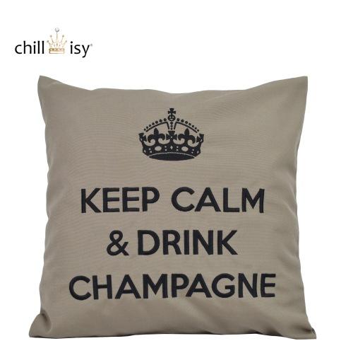 chillisy® Luxuskissen KEEP CALM & DRINK CHAMPAGNE taupe