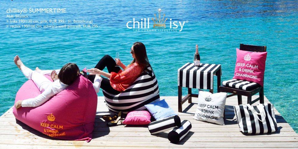 chillisy® SUMMERTIME Chillkissen pink schwarz-weiss