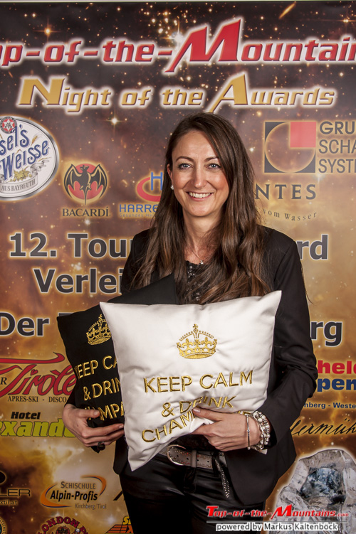 """chillisy® Awardkissen """"KEEP CALM & DRINK CHAMPAGNE, Touristic-Award 2015, Top-of-the-Mountains"""