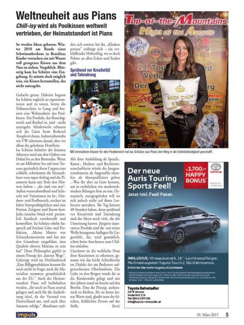 """Lesestoff zum Thema """"Frau in der Wirtschaft"""" über Isa Schütze, chillisy®   IMPULS Magazin, Ausgabe 2015 Nr. 04, S. 5 (http://goo.gl/Xt913h)"""