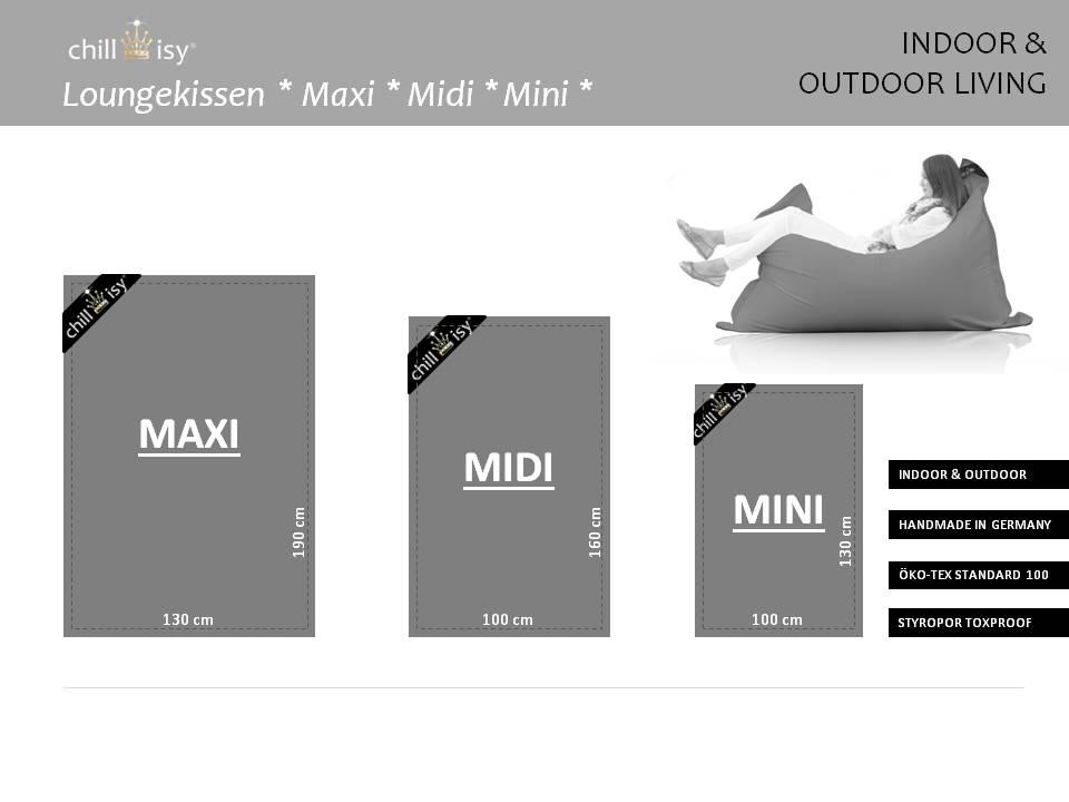 Poolkissen, Gartenkissen, Sitzsack, chillisy® Loungekissen Maxi, Midi und Mini