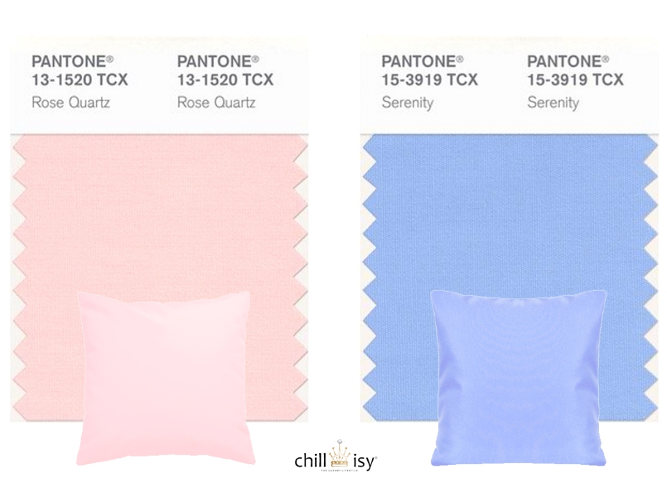Chillisy Outdoor Kissen: Pantone® 2016: Rose Quartz & Serenity, Farben des Jahres 2016