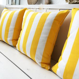 Outdoor Kissen mit Streifen gelb weiss