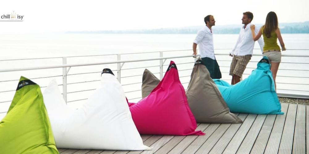 Sitzsäcke für Terrasse, Garten und Balkon in grün, weiß, pink, taupe, türkis online kaufen.